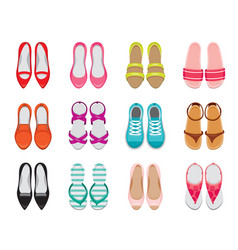 Set of different types of womens shoes pair top vector