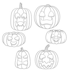 set pumpkins with faces for halloween vector image