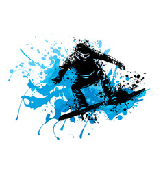 silhouette of a snowboarder jumping vector image