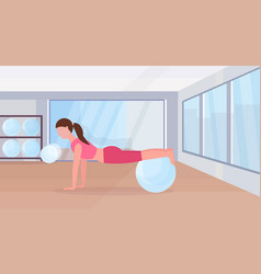 sporty woman doing exercises with fitness ball vector image