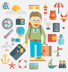Summer holiday flat icons vector