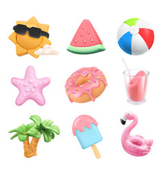 summer icons set sun ball inflatable flamingo toy vector image