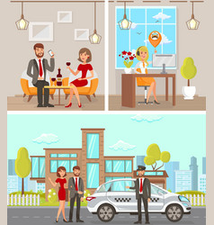 taxi and driver services flat vector image