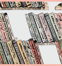 the different books on the bookshelfs vector image