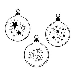 three christmas ball with stars pattern vector image