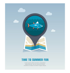 Tuna pin map icon fishing vacation vector
