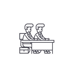 Two students at the desk line icon sign vector