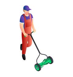 Two wheel lawnmower icon isometric style vector