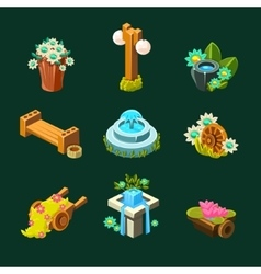 Video Game Garden Decoration Collection Of vector image