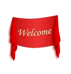 Welcome red realistic sticker vector