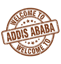 Welcome to addis ababa brown round vintage stamp vector