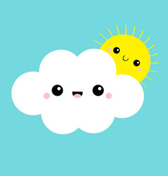 White cloud and yellow sun set smiling face vector