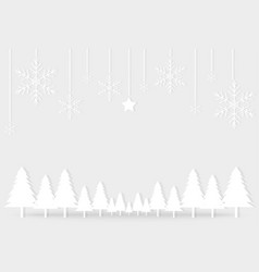 white gray christmas day paper postcard snowflake vector image