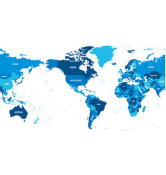 World map - america centered green hue colored on vector