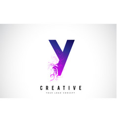 Y purple letter logo design with liquid effect vector