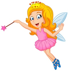 Cartoon fairy with magic wand vector image vector image