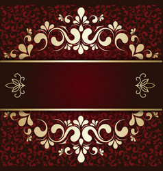 gold ornament on a burgundy background card vector image