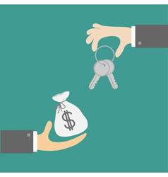 Hands with house and money bag Exchanging concept vector image