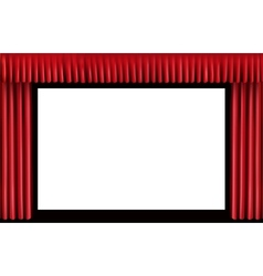 Red curtain blank cinema screen vector