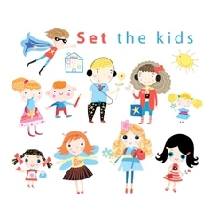 Set of different funny kids vector image vector image