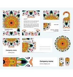 Stationery template design with indian mandalas vector image