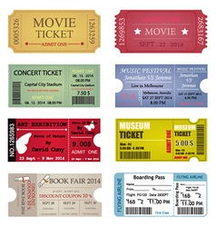 Ticket Template Designs vector image vector image