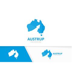 australia and arrow up logo combination vector image vector image