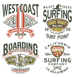 california west coast surfing team vector image vector image