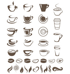 Coffee cups beans and steam shapes template for vector