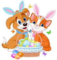 Easter Cat and Dog vector image vector image