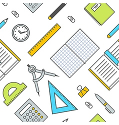 Seamless School Office Supplies Pattern 2 vector image