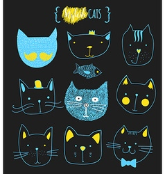 Set of cute doodle cats Sketch cat Cat handmade vector image vector image