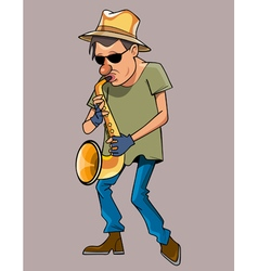 cartoon man with a hat performs saxophone vector image