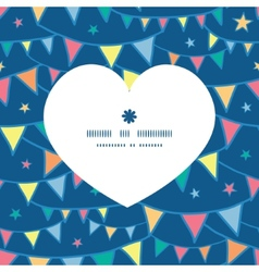 colorful doodle bunting flags heart silhouette vector image