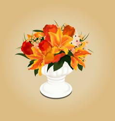 Flower bouquet in vase vector image