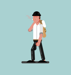 Guy with cigarette and gun walking vector