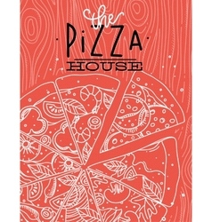 Poster pizza wood coral vector image