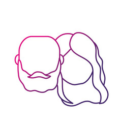 Silhouette avatar couple head with hairstyle vector