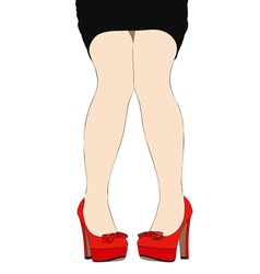 Beautiful legs of a woman wearing high heeled vector image