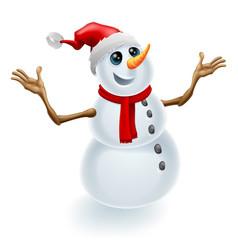 christmas snowman wearing santa hat vector image