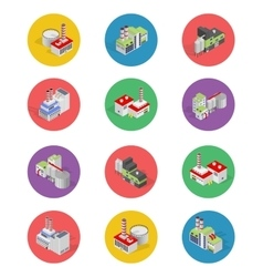 Isometric Building Factory Icons with Shadow vector image vector image