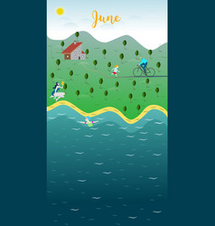 june landscape the family holidays to the lake vector image vector image