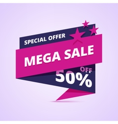 Mega sale banner special offer badge vector image