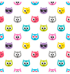 pattern with colorful cat heads vector image vector image