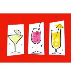 retro drinks isolated on red vector image vector image