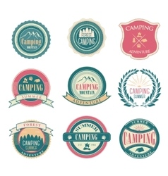 Set of vintage summer camp badges and outdoors vector image