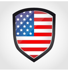 Shield with flag inside - United States - vector image vector image