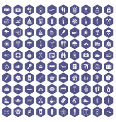 100 vacation icons hexagon purple vector