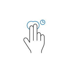 2 finger press and hold line icon hand gestures vector