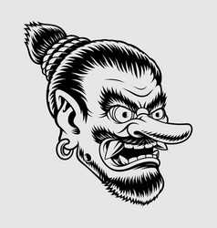 A japanese tengu mask vector